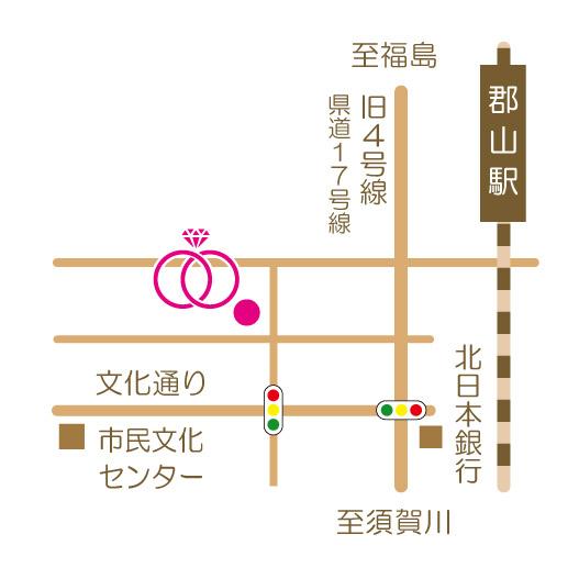 kazariya Yui | 詳細地図 | かざりやゆい | 世界に一つだけの結婚指輪「kazariya Yui」 | 福島県郡山市
