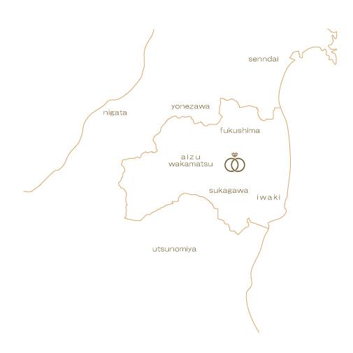 yui県地図   かざりやゆい   世界に一つだけの結婚指輪「kazariya Yui」   福島県郡山市