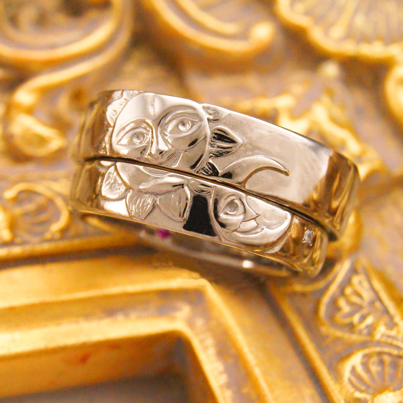 「月と太陽」モチーフの結婚指輪 / kazariyaYui 福島県郡山市