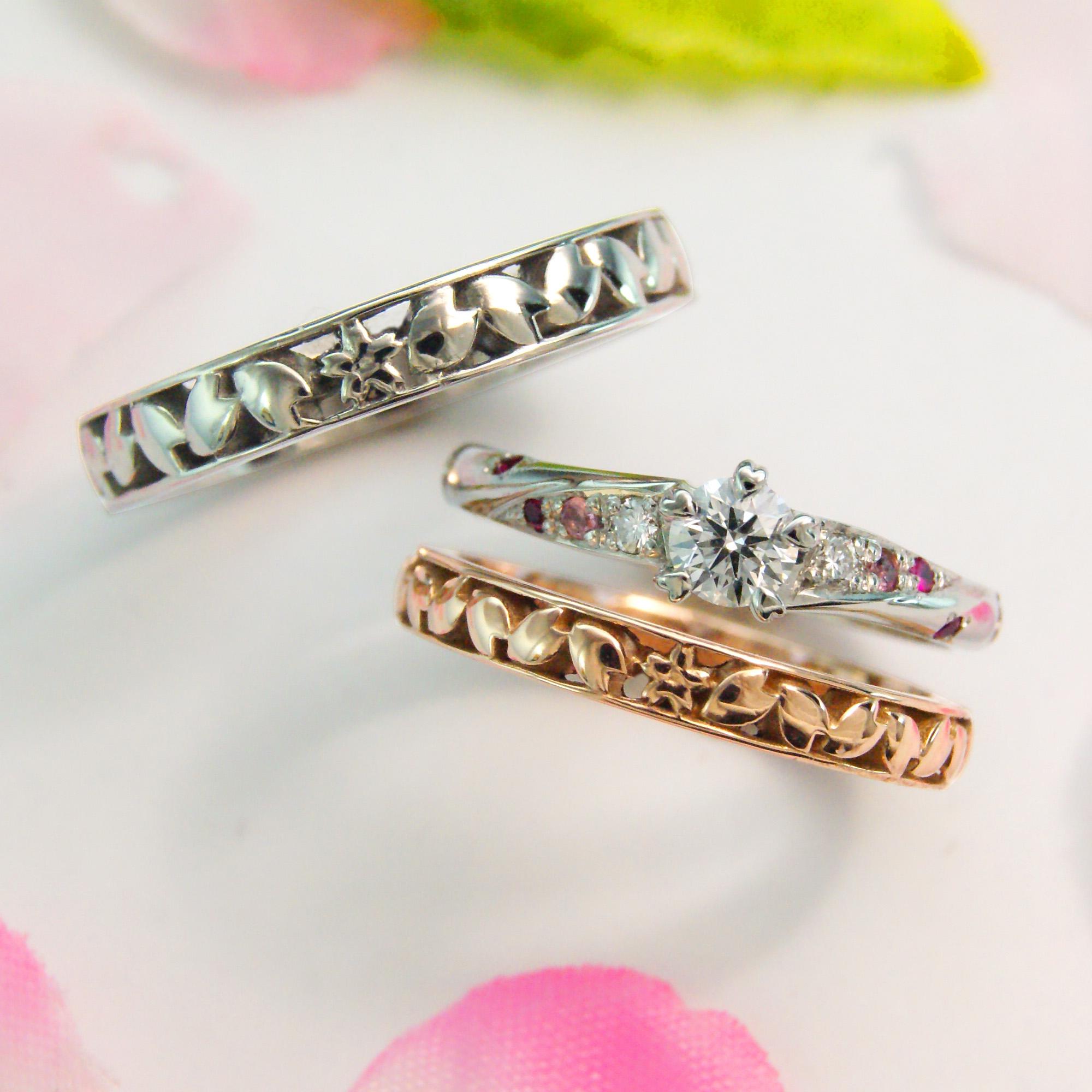 世界に一つだけの結婚指輪 kazariyaYui 福島県郡山市 結婚指輪 婚約指輪 桜