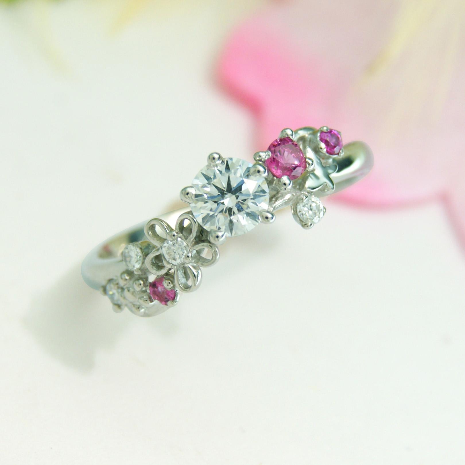 世界に一つだけの結婚指輪 kazariyaYui 福島県郡山市 花 蝶 婚約指輪