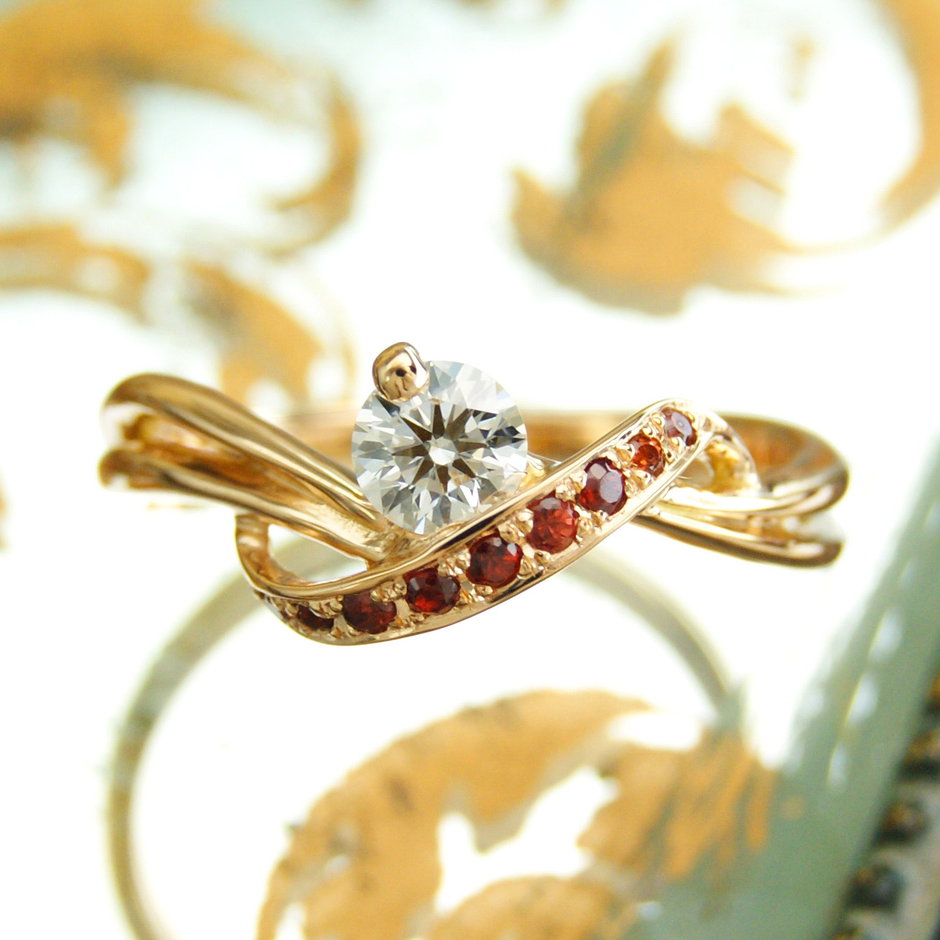 世界に一つだけの結婚指輪 kazariyaYui 福島県郡山市 ガーネット 婚約指輪