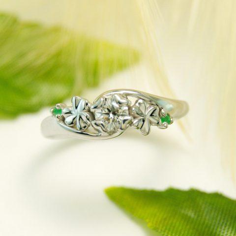 世界に一つだけの結婚指輪 kazariyaYui 福島県郡山市 クローバー 婚約指輪