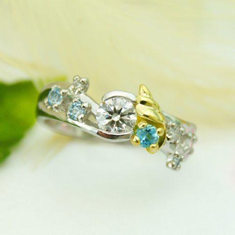 世界に一つだけの結婚指輪 kazariyaYui 福島県郡山市 海 婚約指輪