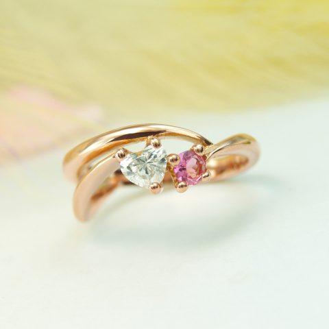 婚約指輪 ハートシェイプダイヤモンド ピンクゴールド かわいい