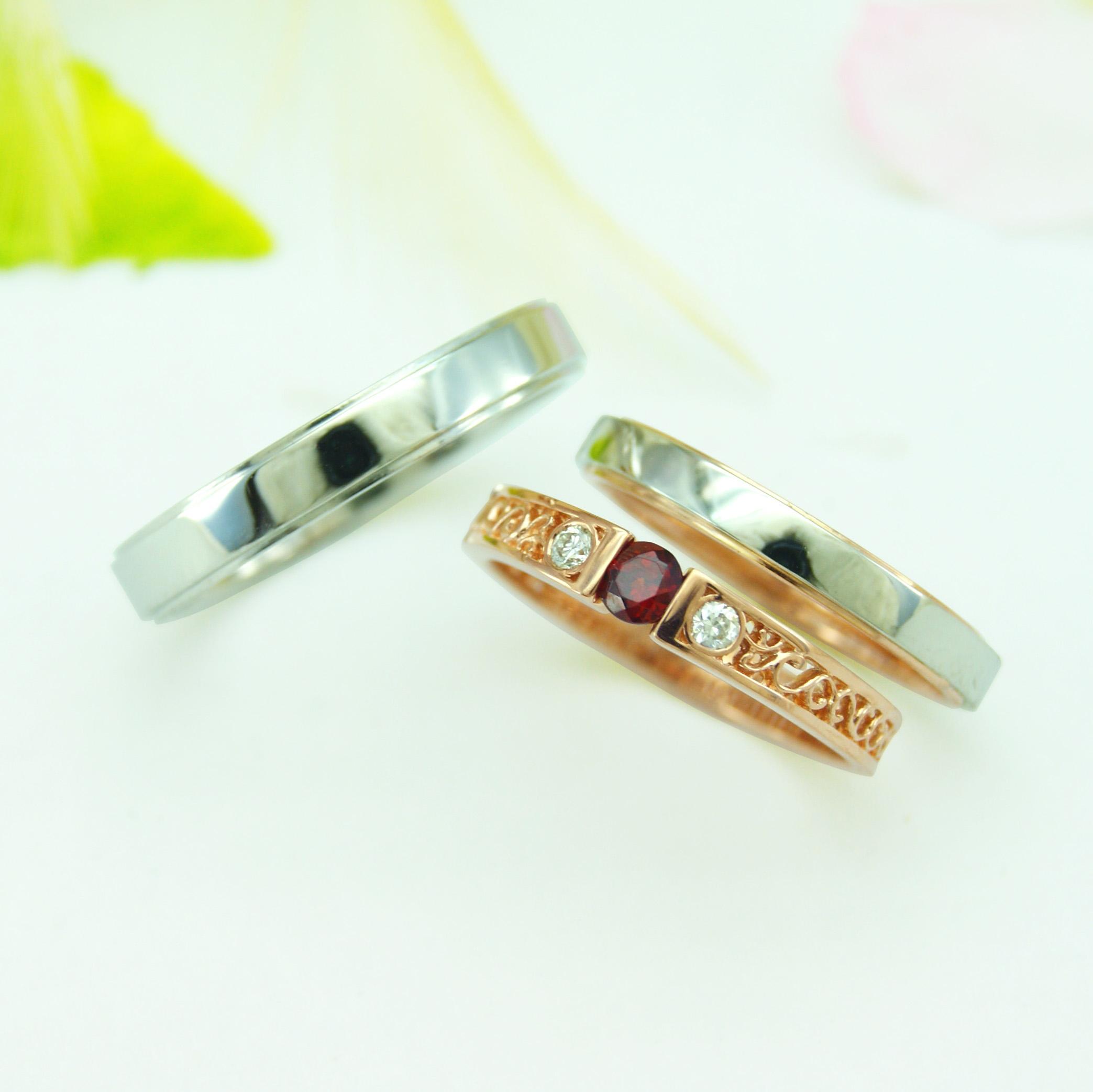 世界に一つだけの結婚指輪 kazariyaYui 福島県郡山市 結婚指輪 婚約指輪 セットリング 透彫