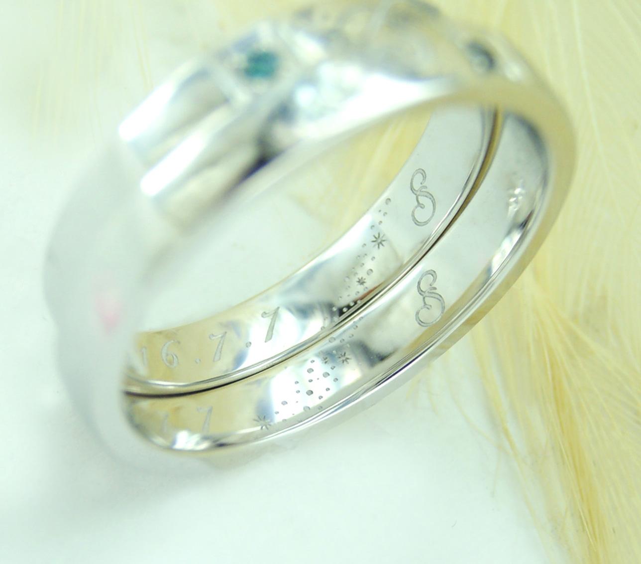 世界に一つだけの結婚指輪 kazariyaYui 福島県郡山市 イニシャル ハート 七夕