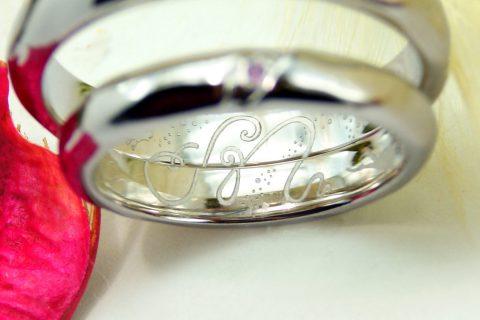 婚約指輪 オーダーメイド kazariyaYui 福島県郡山市 内側 イニシャル ダイビング