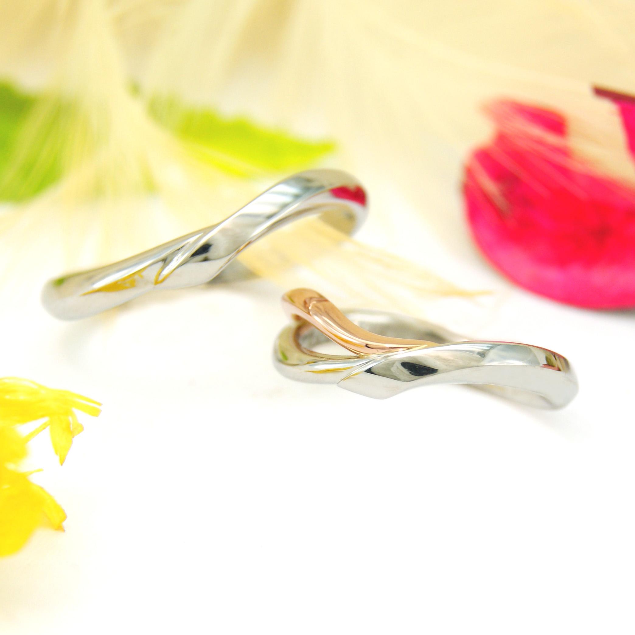 曲線や曲面を使ったオーダーメイドの結婚指輪