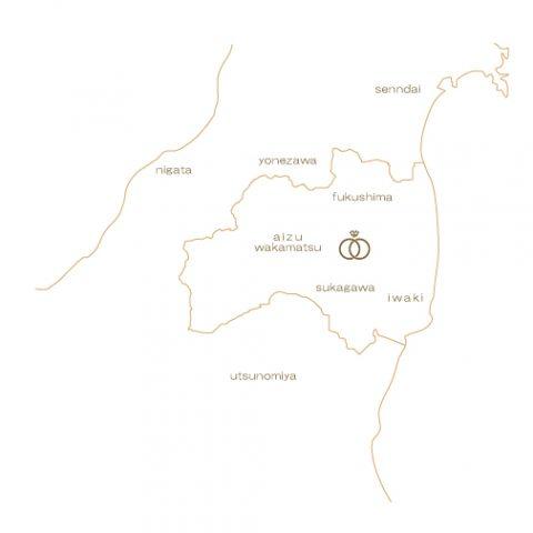 kazariyaYuiを中心とした福島県周辺地図