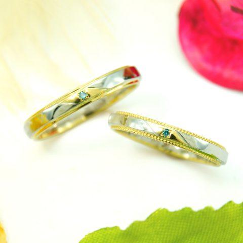 プラチナとイエローゴールドのオーダーメイド結婚指輪