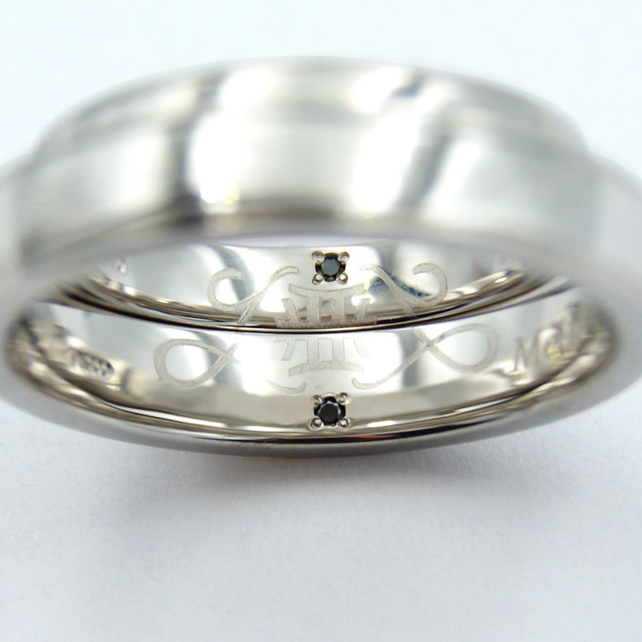結婚指輪の内側に入れたふたりのイニシャルと星座