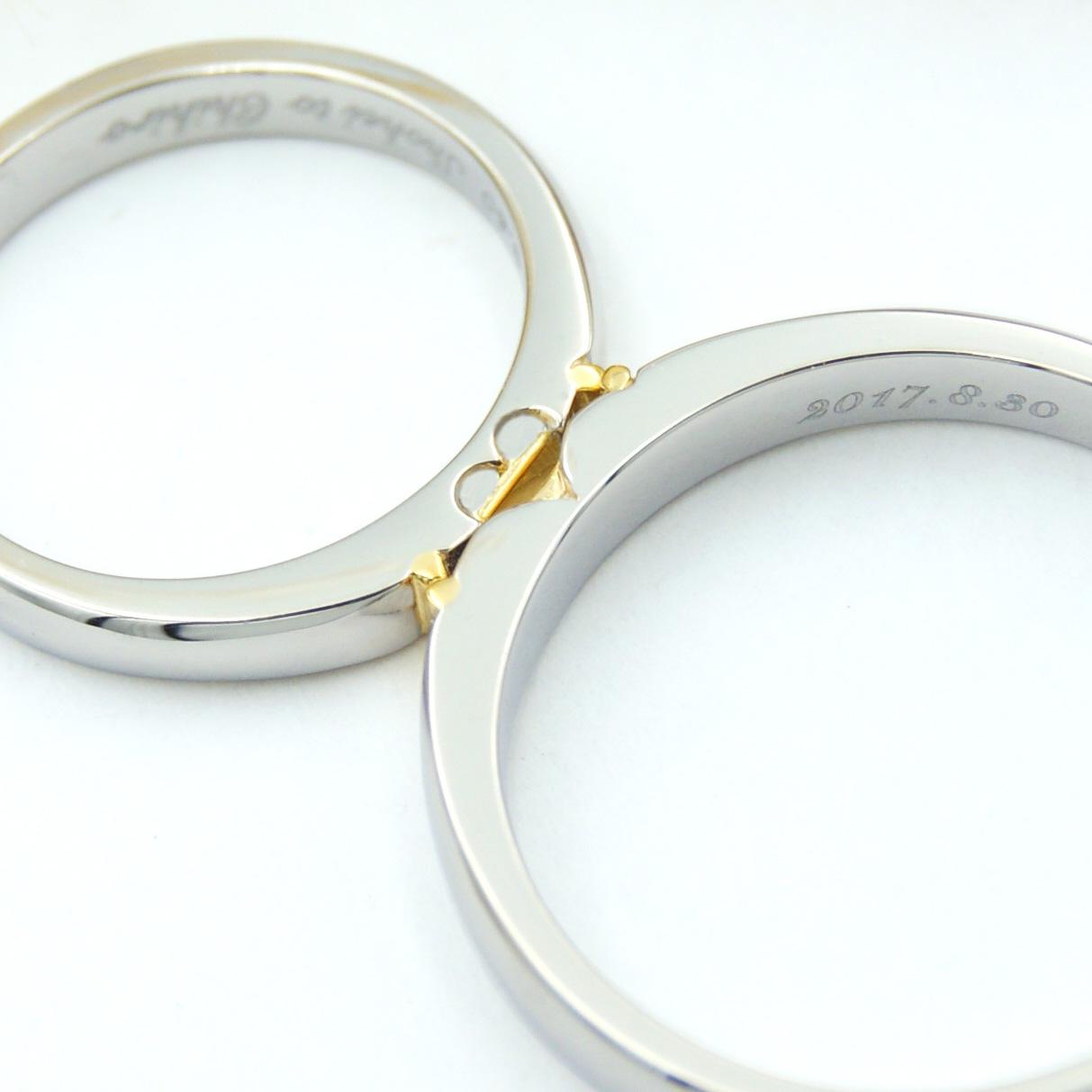 結婚指輪の側面にかわいいハートマーク