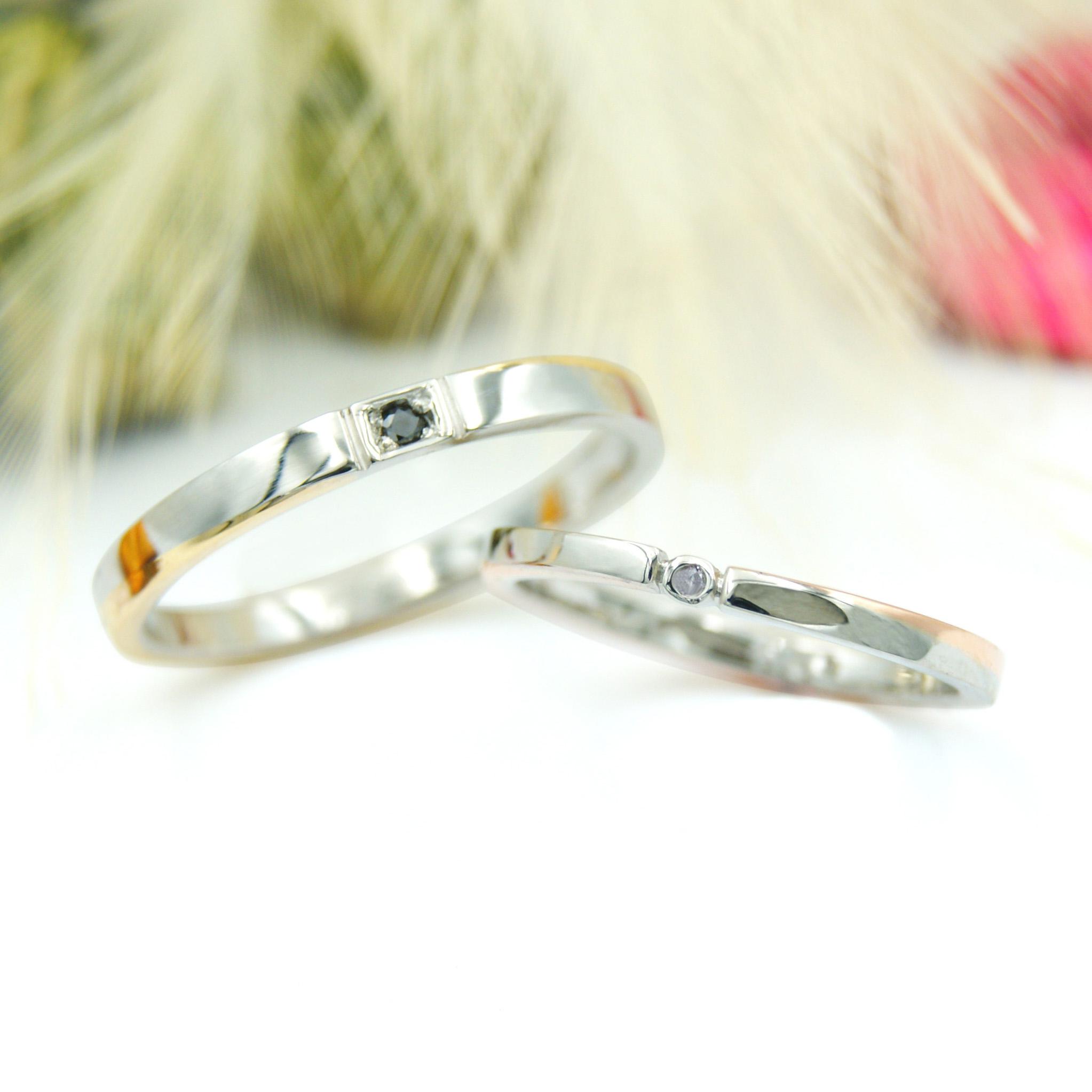 オーダーメイドの結婚指輪平打ちのコンビリング