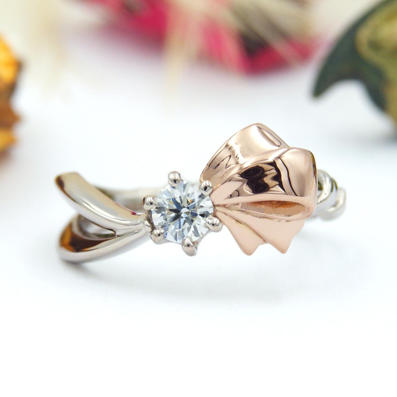 リボンモチーフの婚約指輪