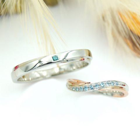 曲線的なデザインの結婚指輪