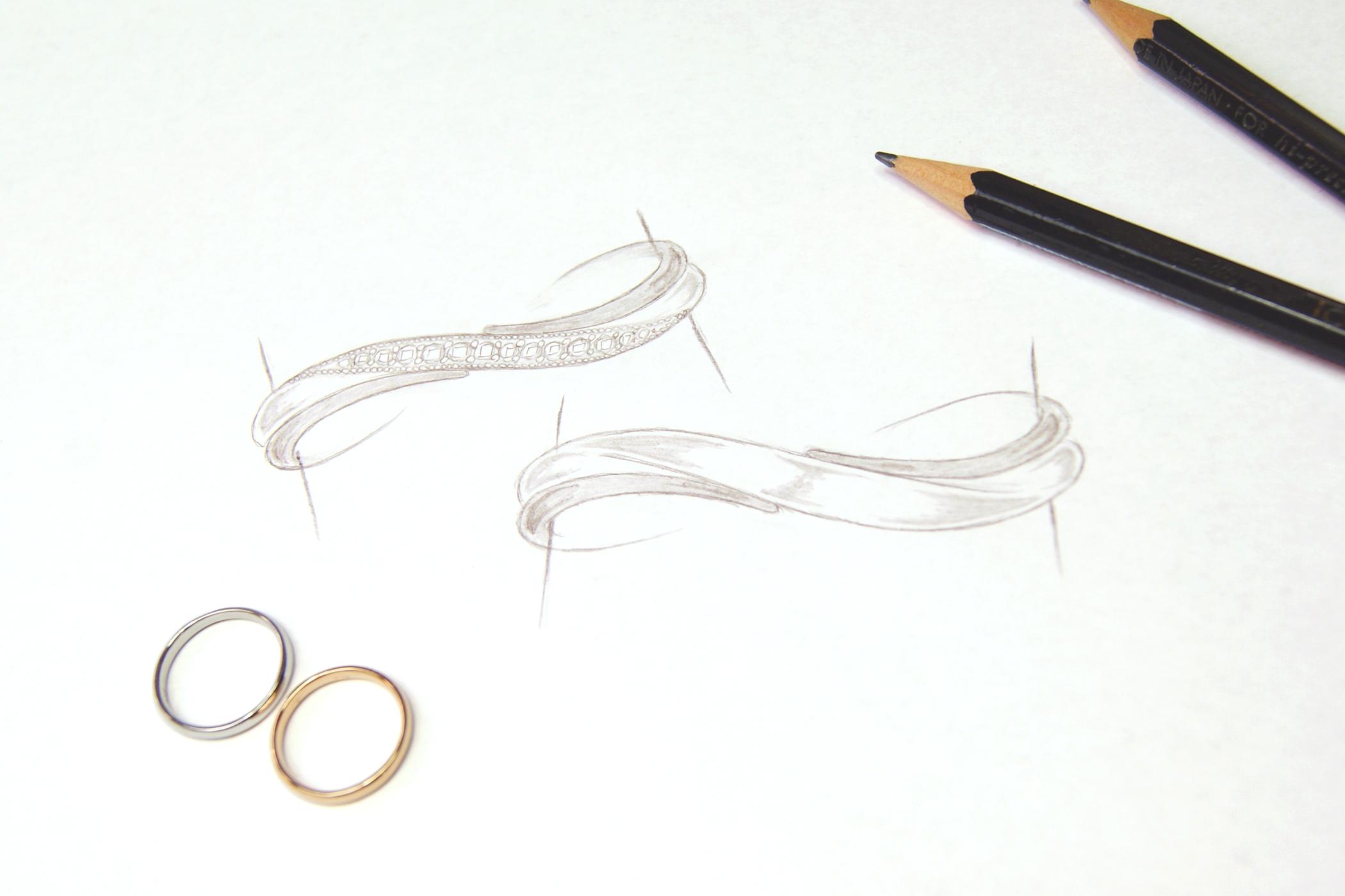 kazariyaYui郡山結婚指輪デザイン画