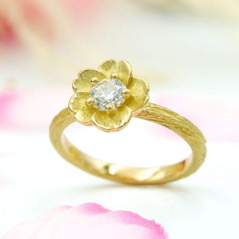 彼氏さんが手作りした「桜」の婚約指輪/福島県郡山市