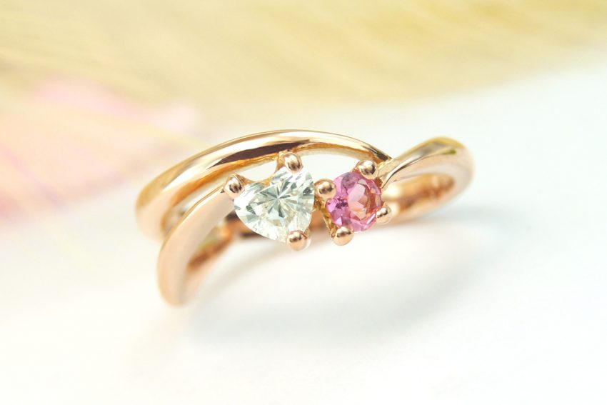 ハートシェイプダイヤモンドの婚約指輪/福島県郡山市