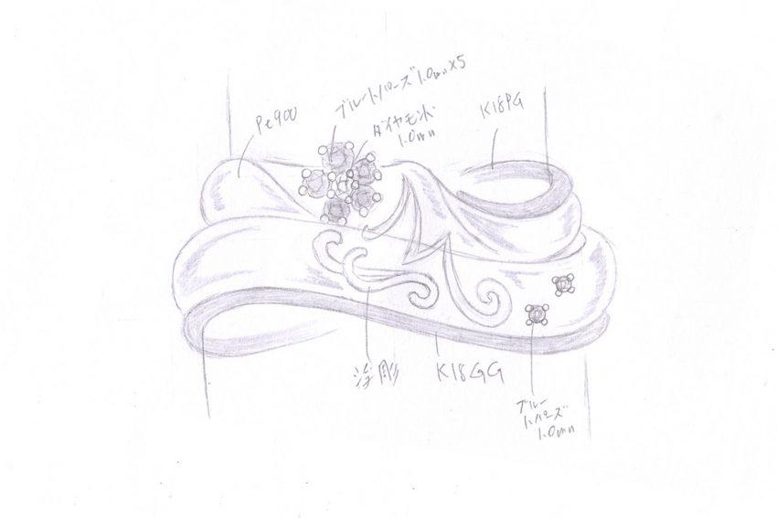 結婚指輪のデザイン画/福島県郡山市