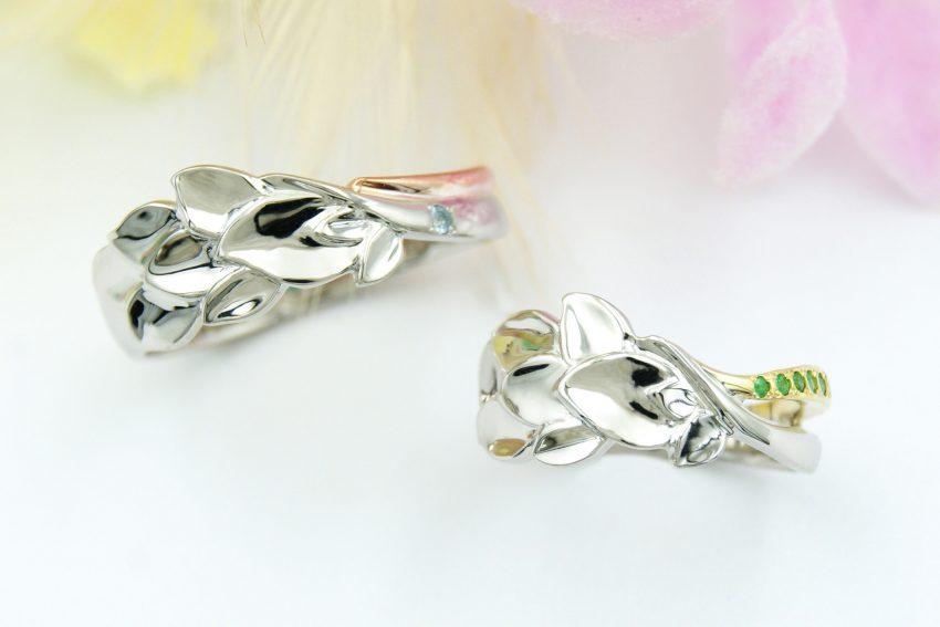 リーフモチーフのエタニティライン結婚指輪/kazariyaYui福島県郡山市