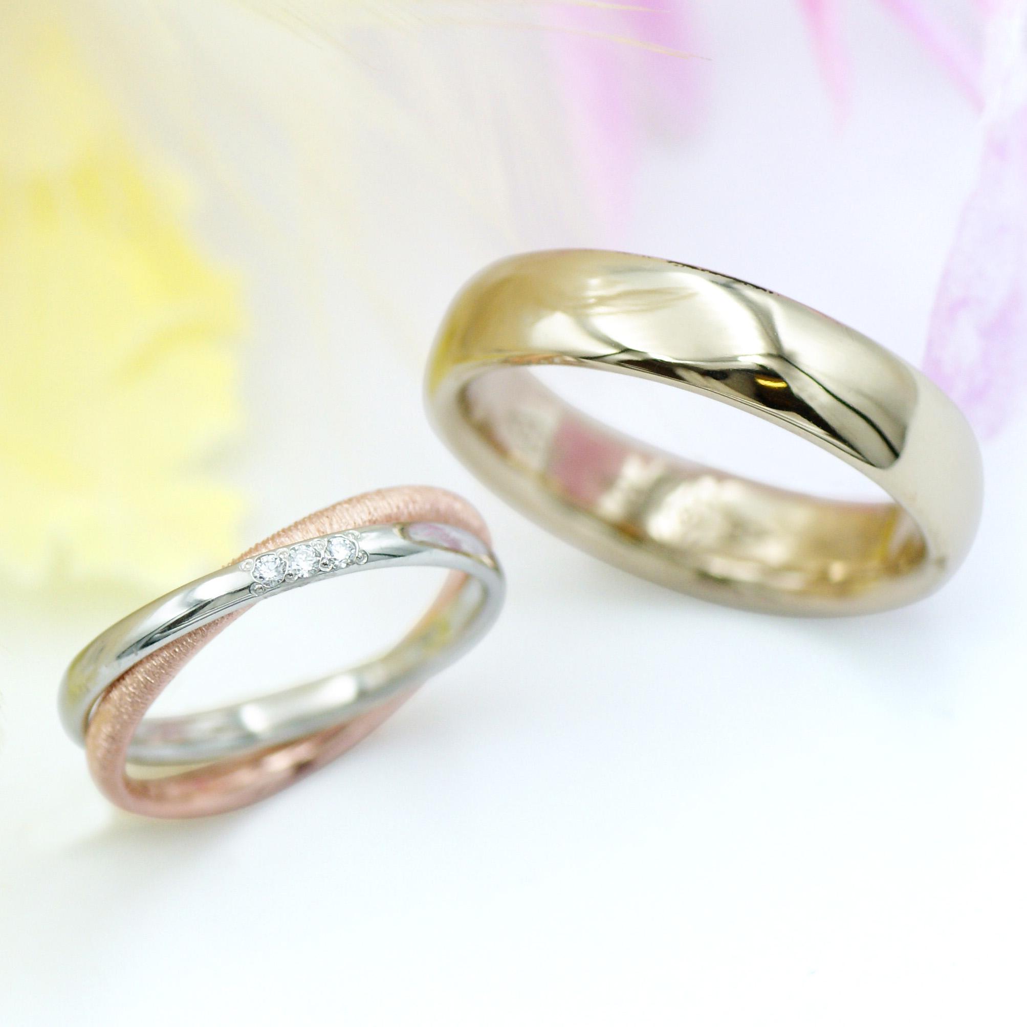 シャンパンゴールドと2連リングの結婚指輪/kazariyaYui福島県郡山市