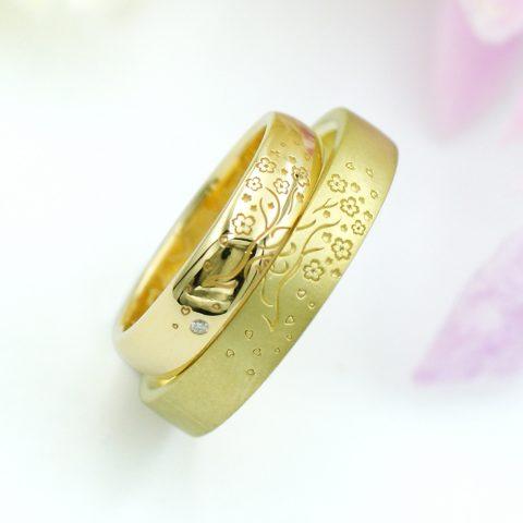 桜の木モチーフの結婚指輪/kazariyaYui福島県郡山市