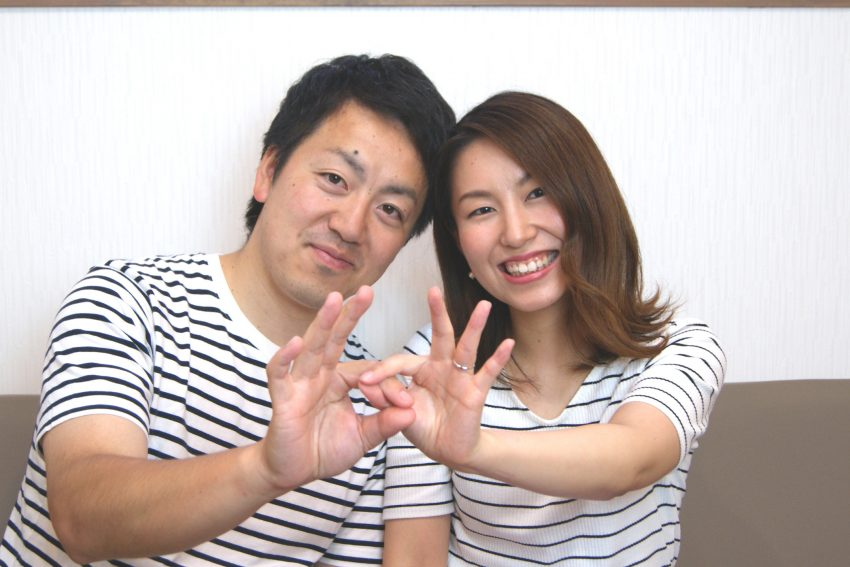結婚指輪をご依頼頂きました二本松市からお越しの丹野さんご夫妻オフショット/kazariyaYui福島県郡山市
