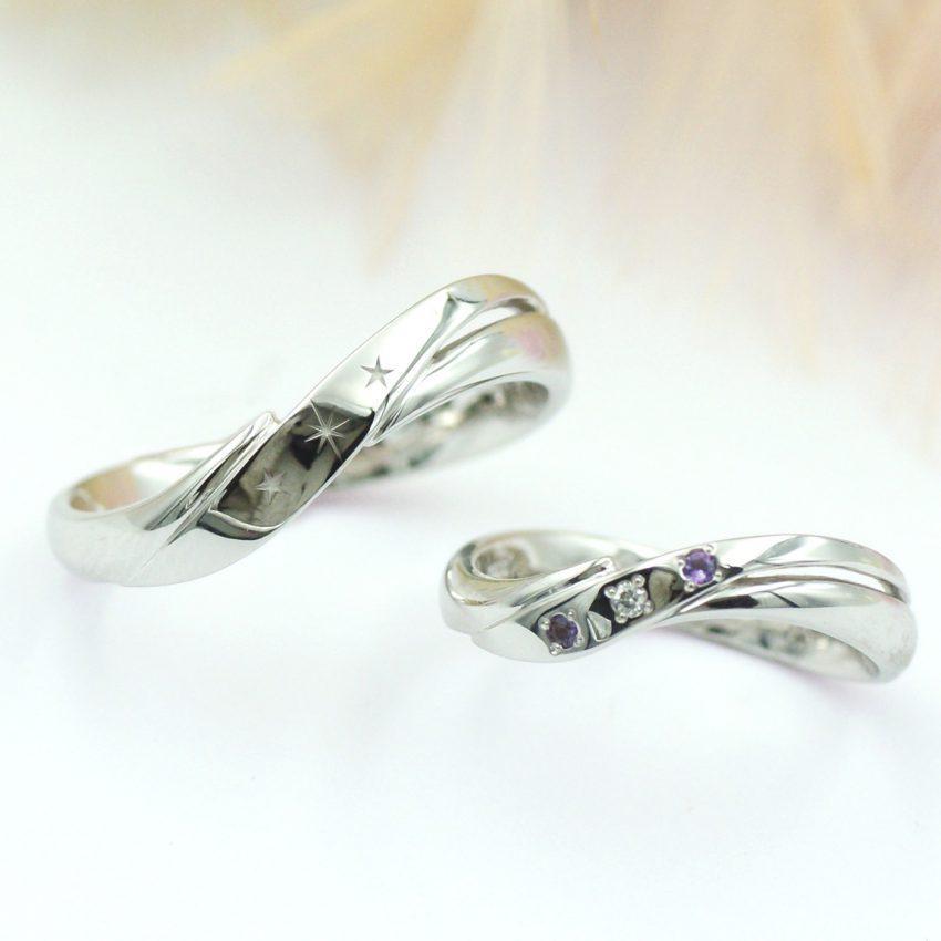 流れるような曲線が美しい結婚指輪/kazariyaYui福島県郡山市