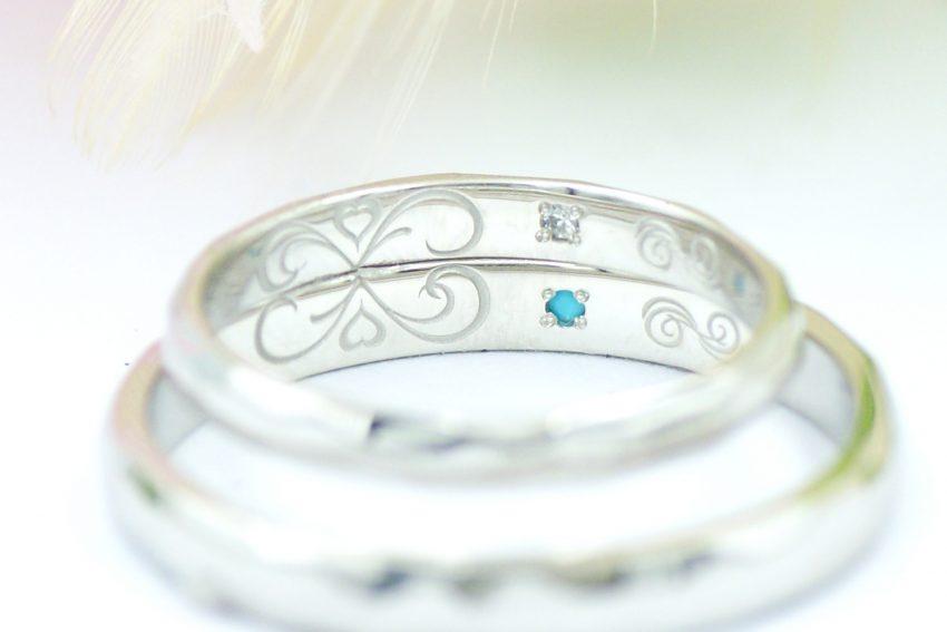 結婚指輪の内側にはふたりのイニシャルをデザイン/kazariyaYui福島県郡山市