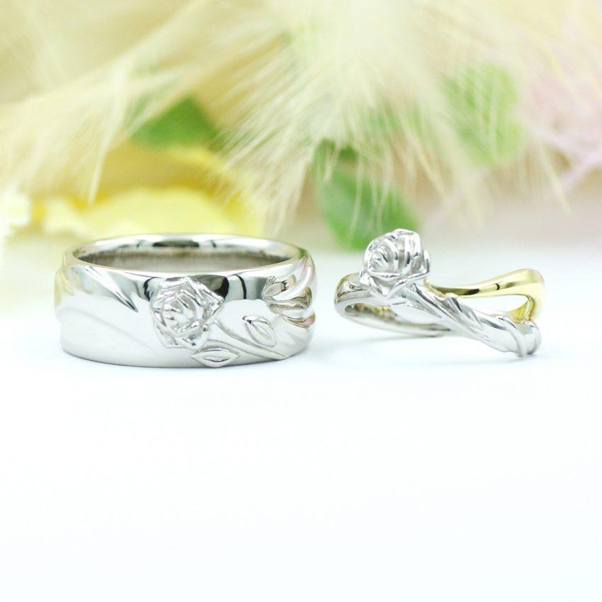 バラモチーフの結婚指輪/kazariyaYui福島県郡山市