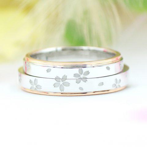 桜模様の結婚指輪/kazariyaYui福島県郡山市