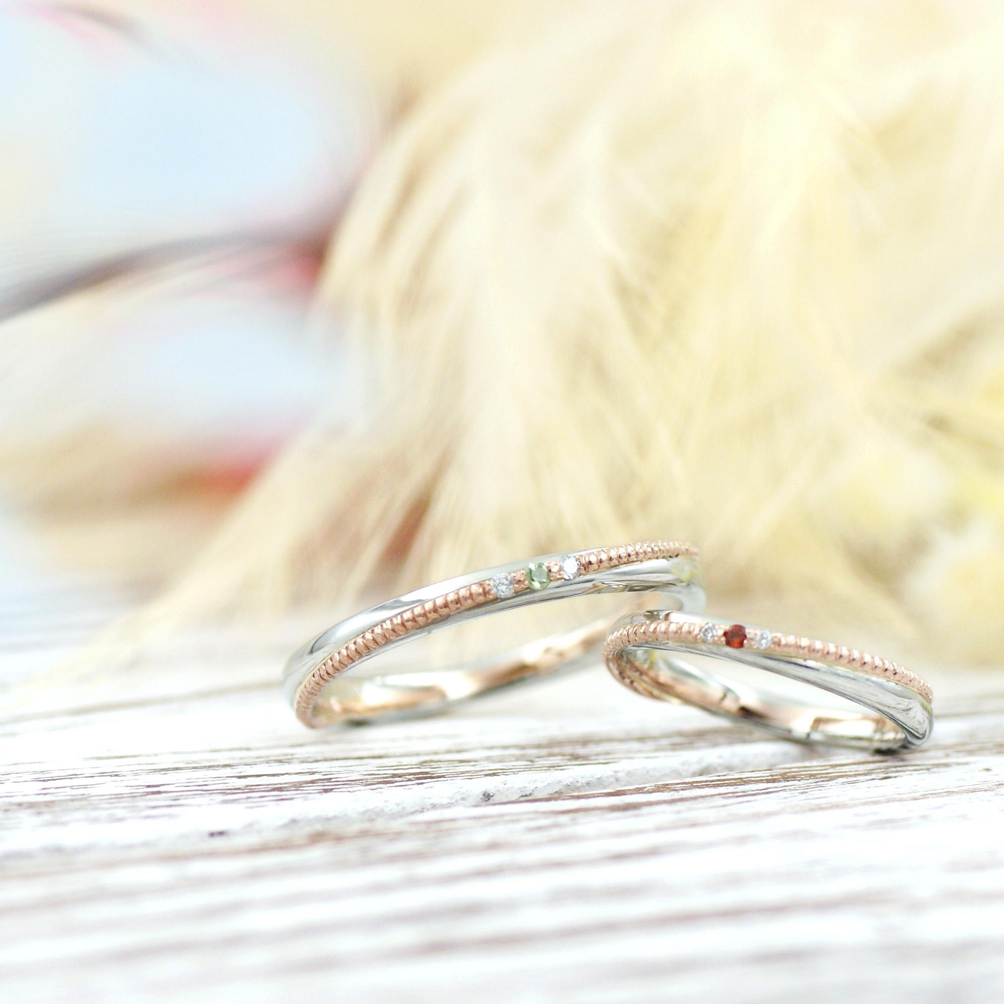 ピンクゴールドのミル打ちがはえる結婚指輪/kazariyaYui福島県郡山市
