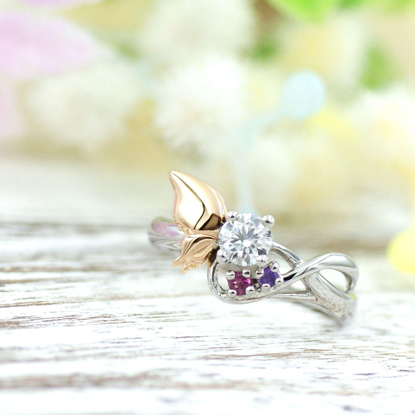 蝶々モチーフの婚約指輪/kazariyaYui福島県郡山市