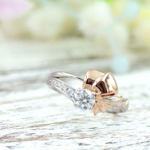リボンモチーフの婚約指輪/kazariyaYui福島県郡山市