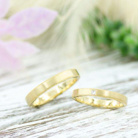 ミル打ちとヘアラインが映える結婚指輪/kazariyaYui福島県郡山市