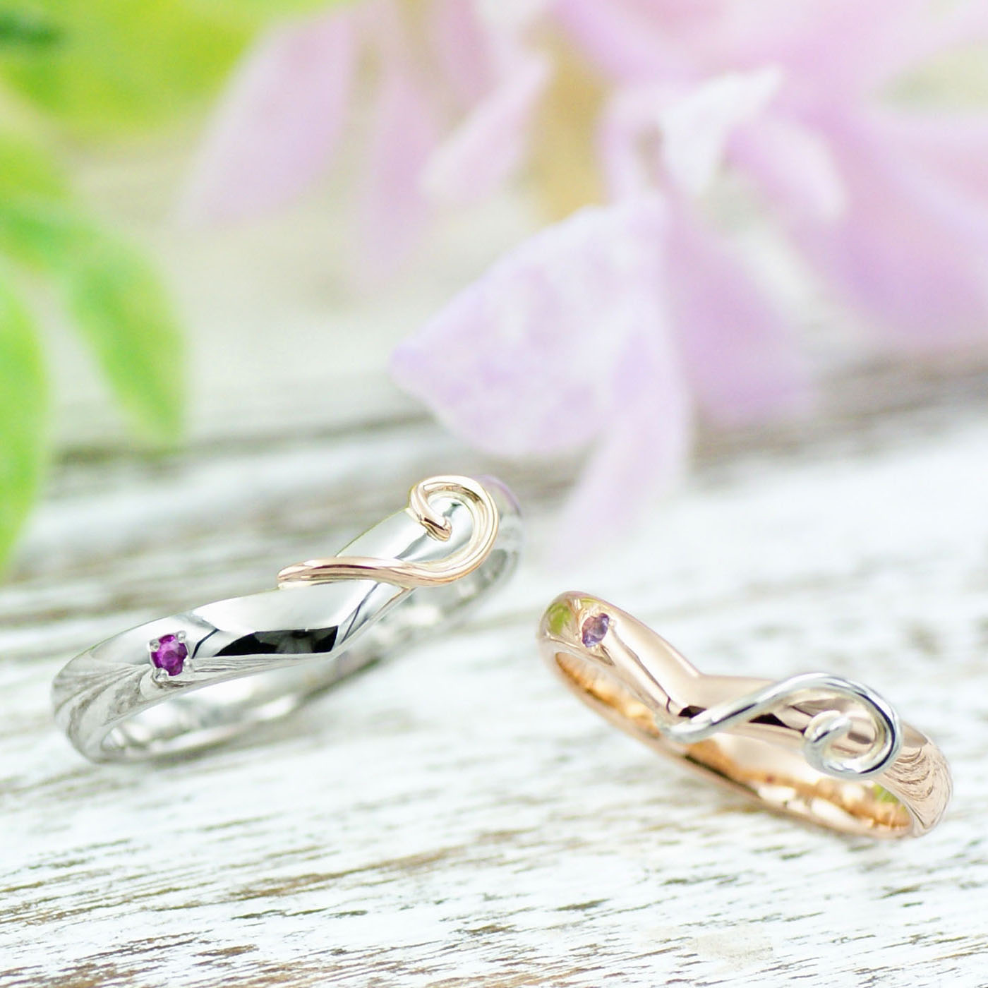 ネコのしっぽのコンビリングの結婚指輪/kazariyaYui福島県郡山市