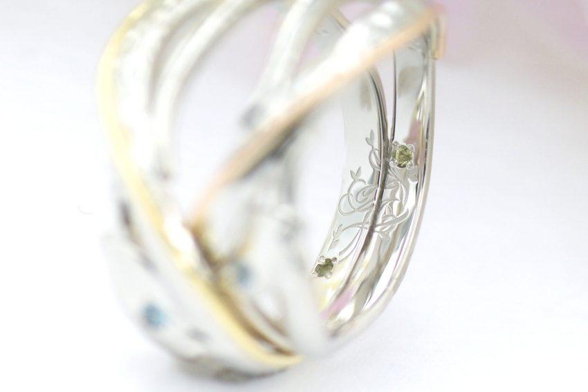 結婚指輪の内側に入れた二人のイニシャルデザイン/kazariyaYui福島県郡山市