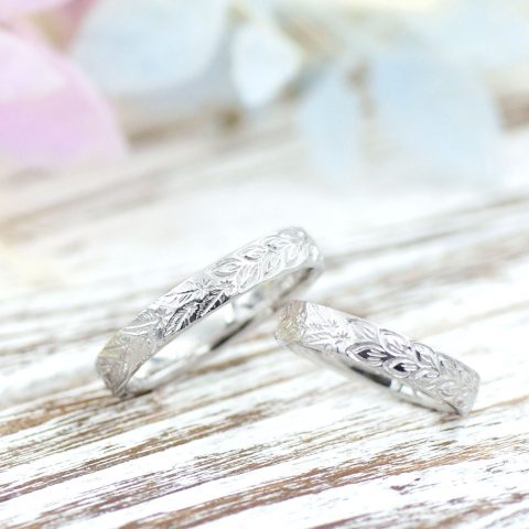天使の羽と葉っぱの結婚指輪/kazariyaYui福島県郡山市