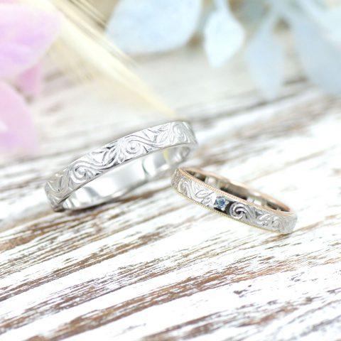 ハワイアン模様の結婚指輪/kazariyaYui福島県郡山市