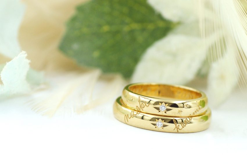 手書きの名前が彫られた結婚指輪/kazariyaYui福島県郡山市