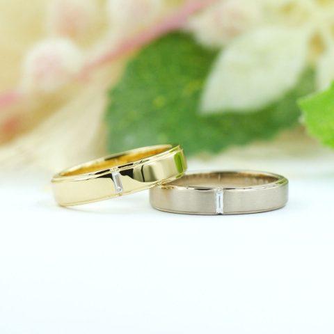 バケットカットダイヤモンドの結婚指輪/kazariyaYui福島県郡山市