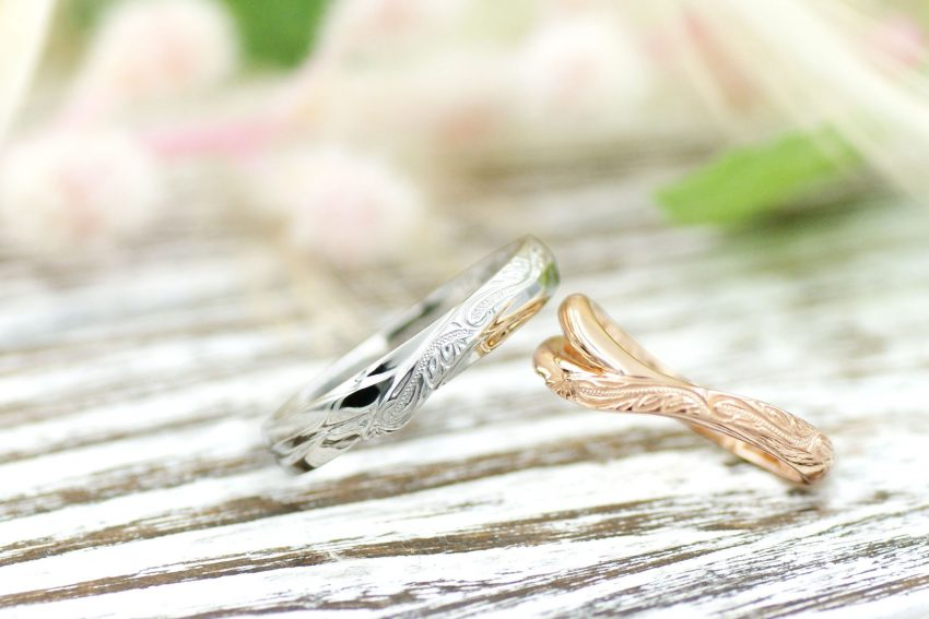 ハワイアンジュエリー模様の結婚指輪/kazariyaYui福島県郡山市