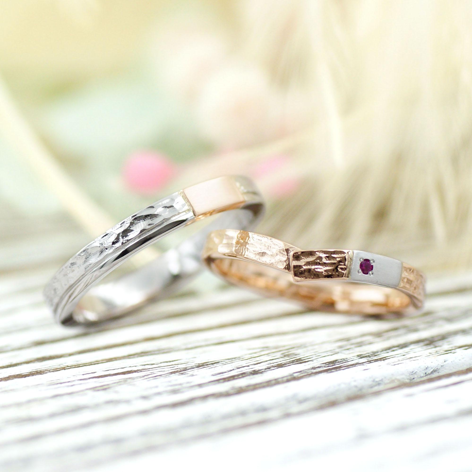 ふたりの素材を交換した槌目模様の結婚指輪/kazariyaYui福島県郡山市