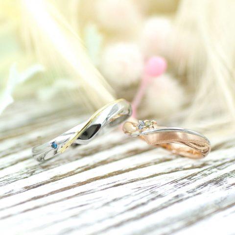 エタニティラインを意識したコンビリングの結婚指輪/kazariyaYui福島県郡山市